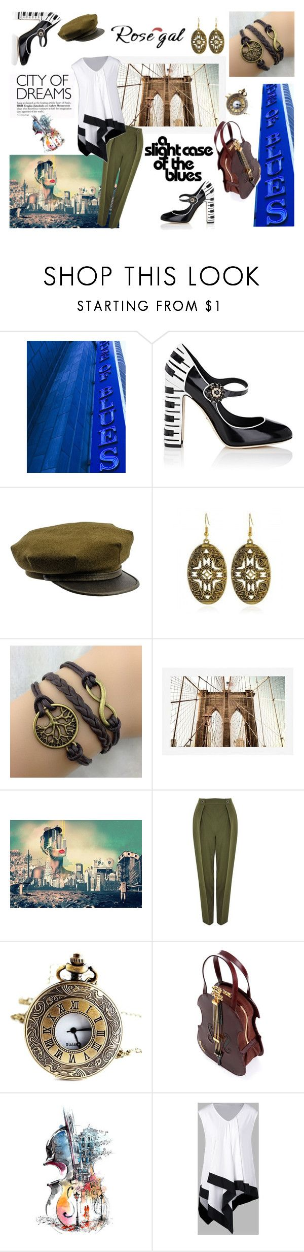 """""""The hip Brooklyn Musician"""" by saney ❤ liked on Polyvore featuring Dolce&Gabbana, Pottery Barn, Topshop, Braccialini, music, brooklyn and rosegal"""