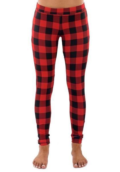 bbcc66cf0a932 Red Plaid Christmas Yoga Slim Sock Casual Sports Legging | Style I ...