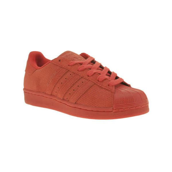 Adidas Red Superstar Rt Mono Trainers (815 EGP) ❤ liked on Polyvore featuring shoes, sneakers, red, adidas sneakers, adidas shoes, red trainer, red sneakers and red shoes