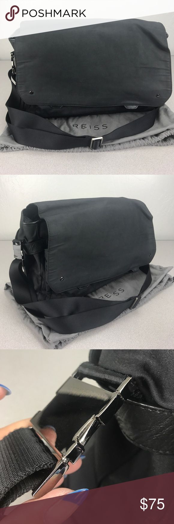 Reiss Black Waxed Canvas Messenger Bag Purchased at the Reiss SF store back in 2011. Very well kept. Pass through on back to put securely on your luggage. Beautiful leather details. Separate laptop compartment which is removable. Reiss Bags Laptop Bags