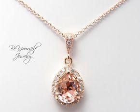 Collier de mariée douce rose collier Swarovski Vintage Rose en forme de larme mariée pendentif or Rose Blush demoiselle d