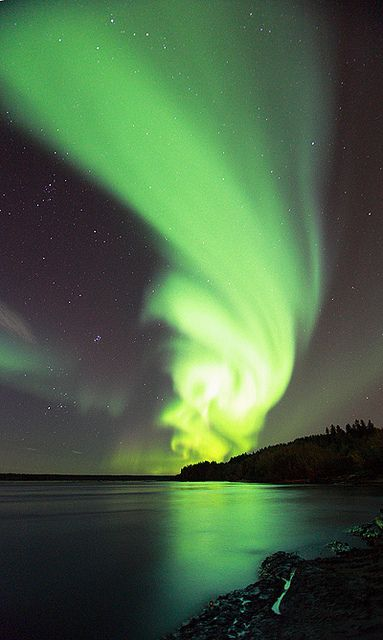 Incredible neon green Aurora Borealis over the Northwest Territories