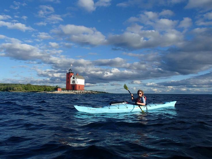 Challenge yourself to paddle across the Straits to Round Island. Book Now @ http://mackinackayak.com