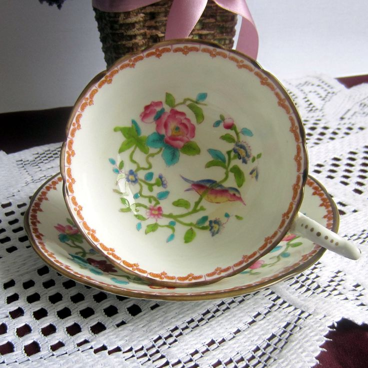 Free Shipping Coalport PEMBROKE Wide Mouth with Birds and Vines Bone China Tea Cup and Saucer - Made in England by LauriesFineChina on Etsy
