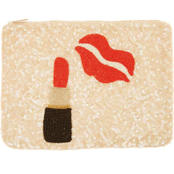 Santi Multicolour Sequin Lipstick Clutch Bag ($90) ❤ liked on Polyvore featuring bags, handbags, clutches, beige handbags, colorful clutches, beige clutches, sequin purse and zipper purse