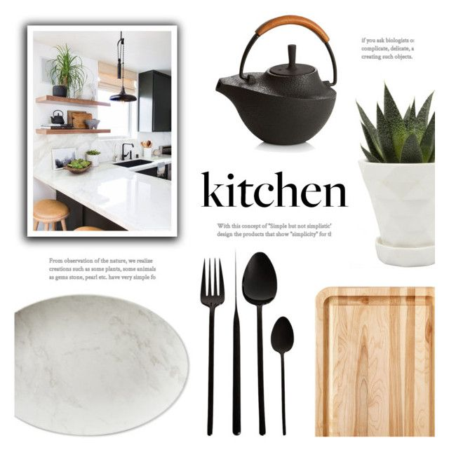 """""""Dream Kitchen: Black, White, Wood"""" by catchsomeraes ❤ liked on Polyvore featuring interior, interiors, interior design, home, home decor, interior decorating, Williams-Sonoma, Catskill Craftsmen, Chive and Nambé"""