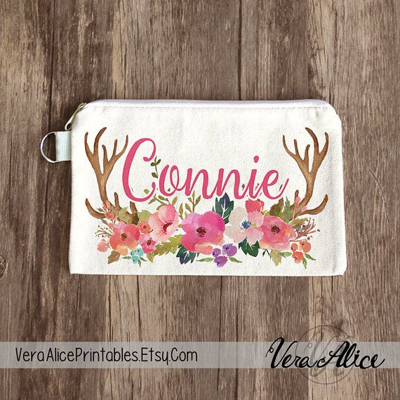 Bridesmaid Bag Bridal Party Floral Antler Bag Bachelorette Makeup Pouch Wedding Favor Personalized Makeup Bag Rustic Bag Shabby Chic by VeraAlicePrintables