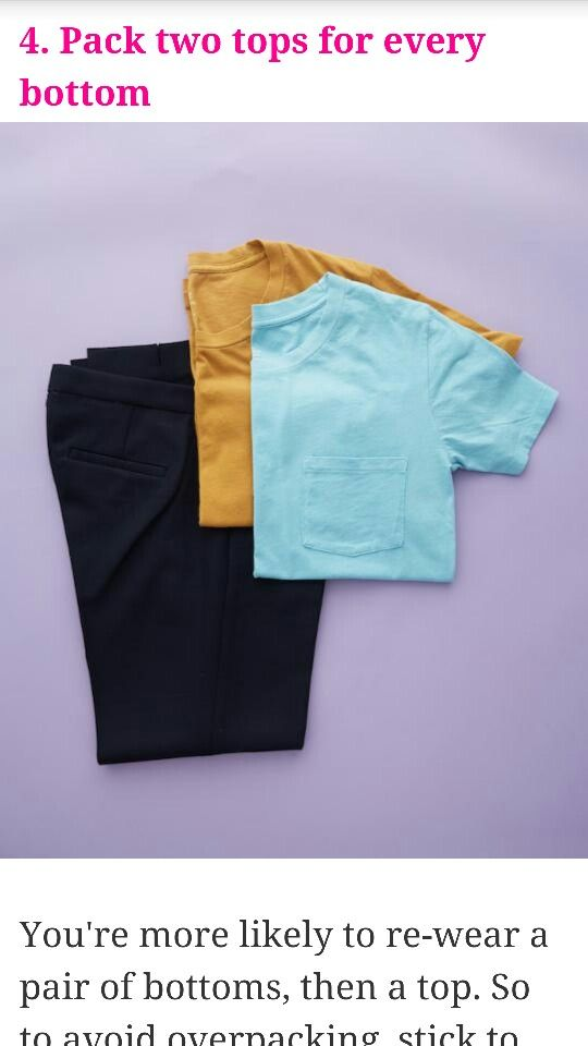 Pack two tops for every bottom