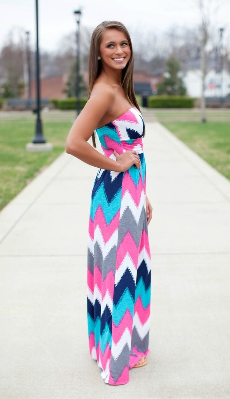 The Pink Lily Boutique - Live Your Life Chevron Maxi, $40.00 (http://thepinklilyboutique.com/live-your-life-chevron-maxi/)