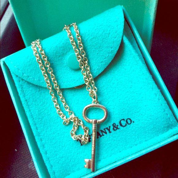 """Tiffany's silver necklace 17"""" w/ key charm Like new. Tiffany & Co. Jewelry Necklaces"""