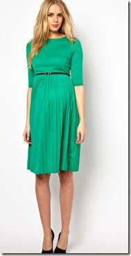 Maternity Wear: ASOS Midi Dress with Pleated Skirt