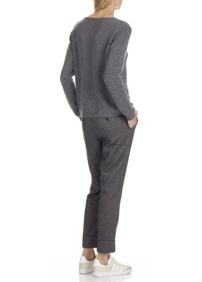 Pantalon carotte à chevrons en coton et alpaga Noir by CLOSED