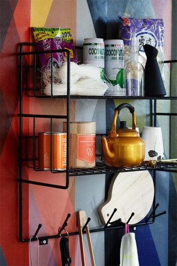 Double shelf is a shelf, designed by Olof Kolte. It fits in the bathroom, kitchen, children's room and other rooms that require a smart storage solution. The series also includes Triple shelf, Mitten Shelf, Hatrack and Shoe Shelf.   Material: Powder coated metal wire