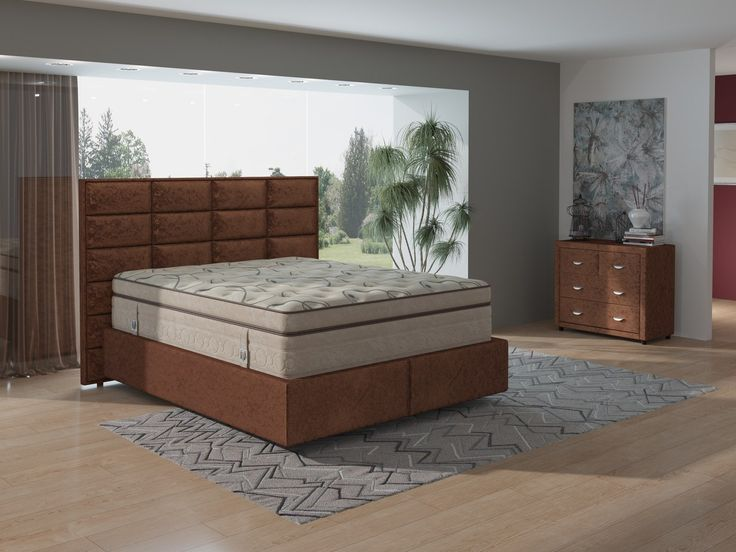 «Вкусный» дизайн – интересное решение для шикарной спальни. Дизайнерское изголовье модели Chocolate и премиальный матрас Verda идеальны для самого сладкого сна. На фото – спальная система Verda в составе: изголовье Chocolate, основание Island, матрас Verda Hi-Cloud в чехле Moonlight, комод Verda, тумба Verda. Обивка мебели выполнена из мебельной ткани Софтнесс шоколадного цвета. https://ormatek.com/catalog/furniture/mebel-verda/