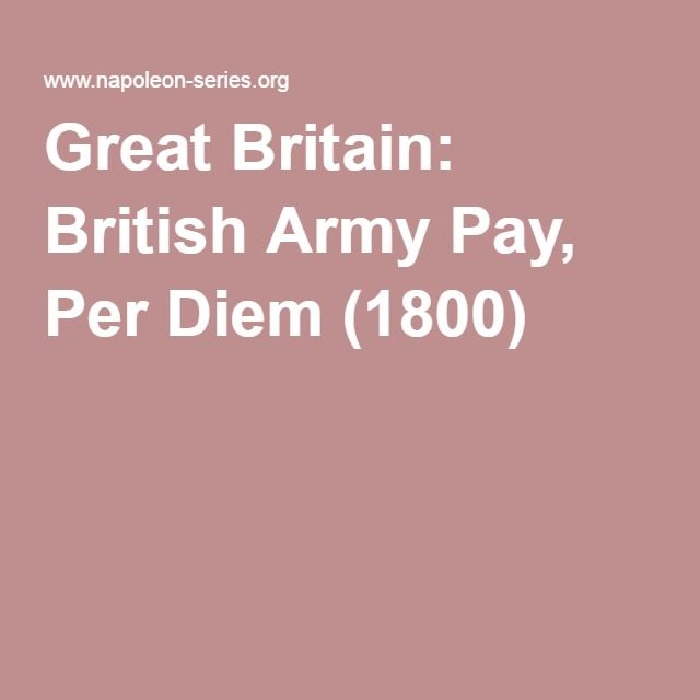 Great Britain: British Army Pay, Per Diem (1800)