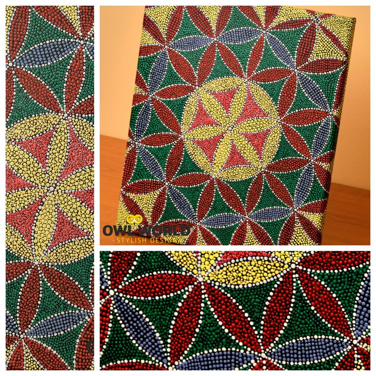 A mandala painted in dots, on a 30 cm x 25 cm canvas.  #owlworld #stylish #design