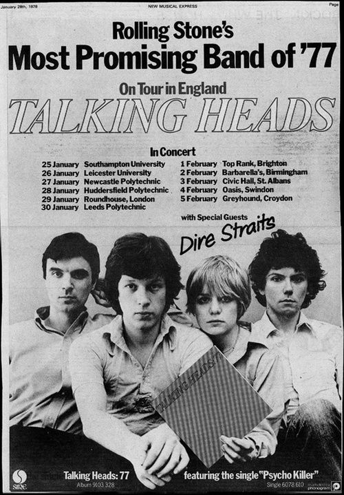Talking Heads 1978 U.K. Tour promo (with special guests, Dire Straits)