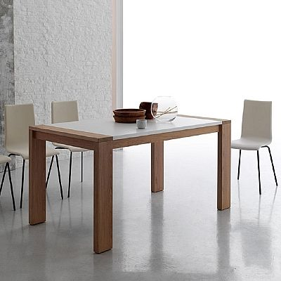 Beautiful, white and wooden 'Manchester' table. Great top, amazing choices. Minimalist and simple. My Italian Living.
