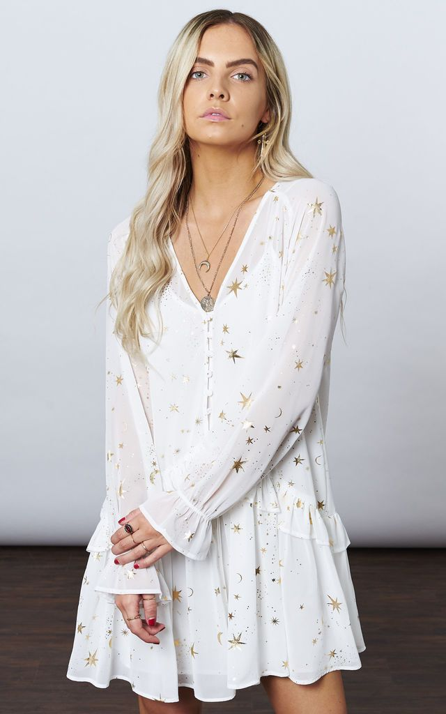7ce3fc306715 White With Gold Star   Moon Flowy Mini By If By Sea
