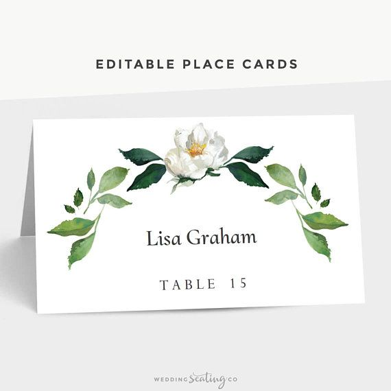 Wedding Place Cards Folded Avery 5302 Garden Outdoor Leaves Etsy Wedding Place Cards Personalized Place Cards Table Name Cards