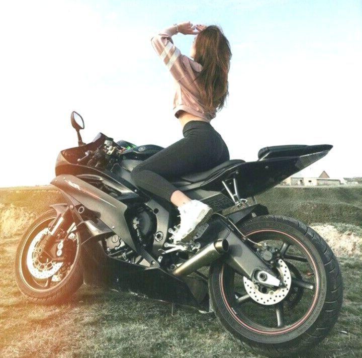 Black Yamaha R6 Motorcycle And Biker Girl Biker Queen Yamaha R6