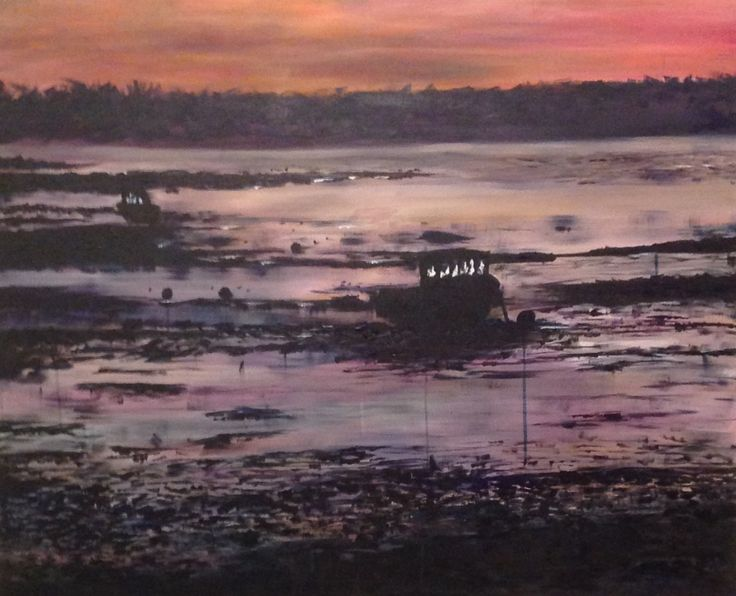 Acrylic on canvas, Langstone Harbour by Amy Routledge Art