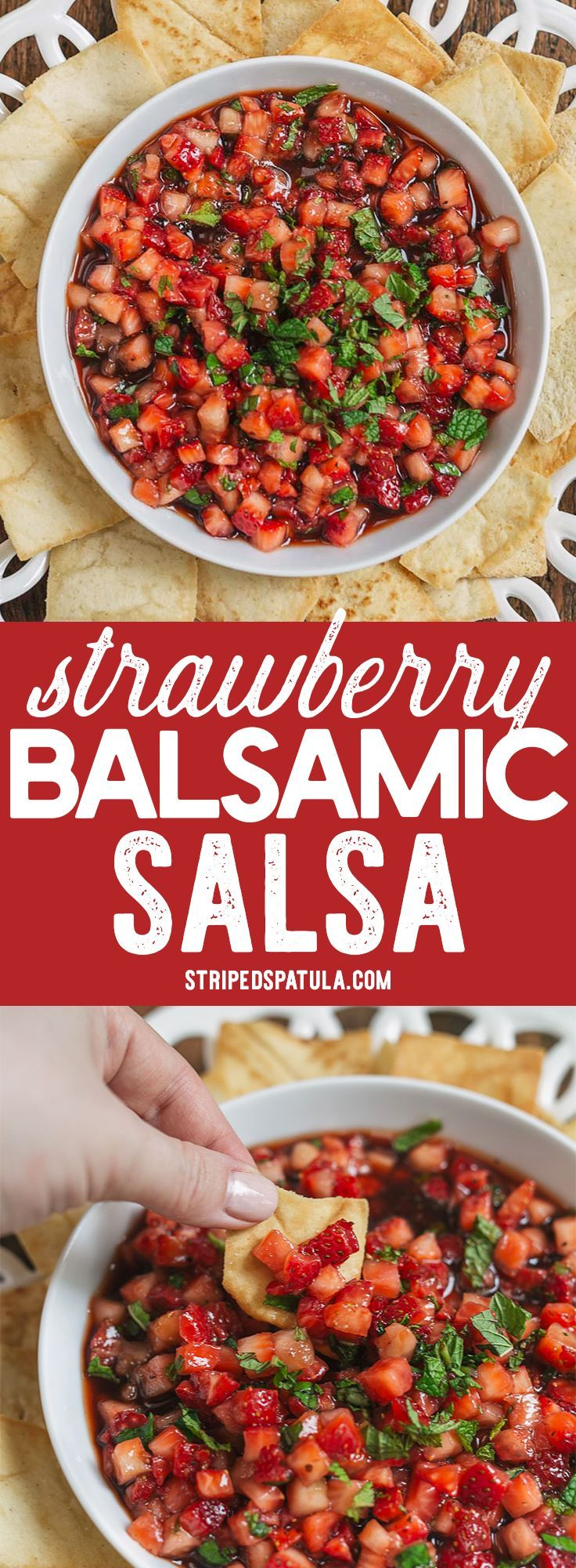 Strawberry Balsamic Salsa is a sweet, tangy, refreshing summer fruit salsa that's perfect for utilizing your farmer's market haul of berries and herbs!