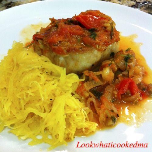 paleo dinner! pork chops with spaghetti squash