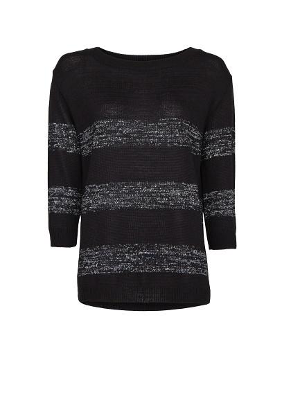 MANGO - Sweter w metaliczne pasy