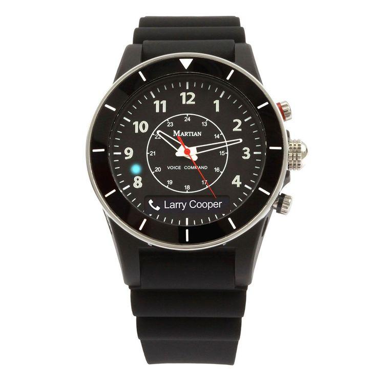 Martian MVR02ALT10 Men's Alpha T10 mVoice Black Ana-Digi Dial Black Silicon Strap Smartwatch