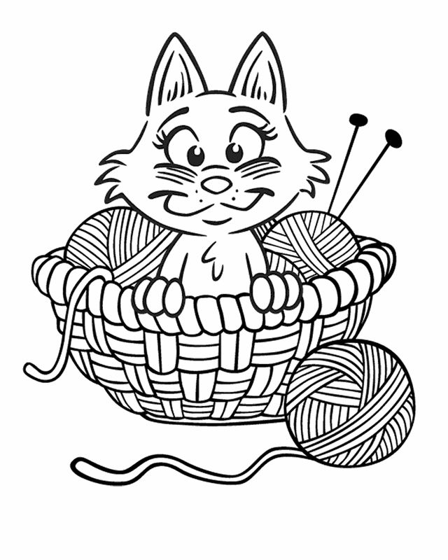 cartoon coloring pages kitten in yarn