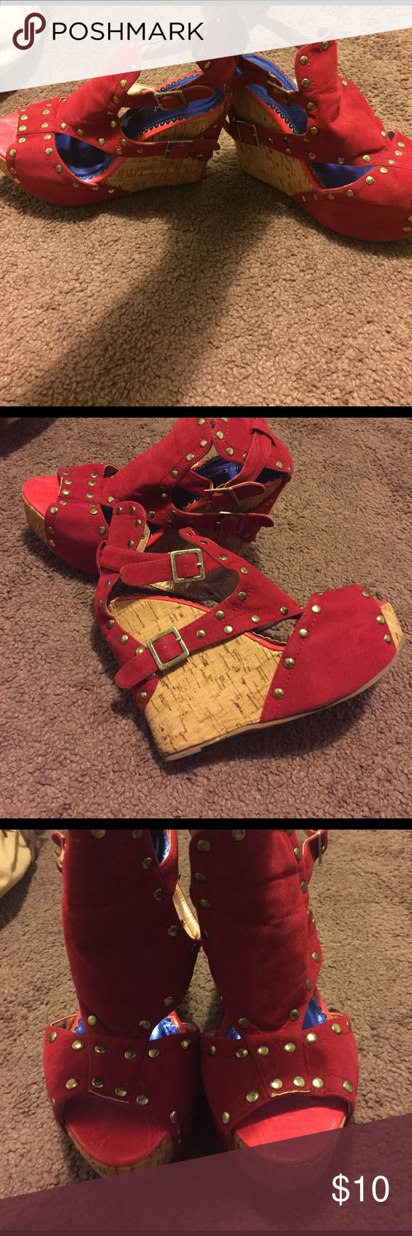 Wedge heel Red wedge shoe with a gold studs on them Shoes Wedges