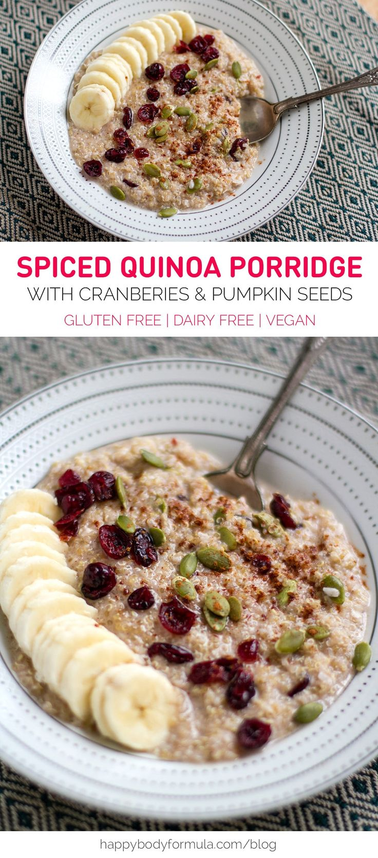 5-Minute Spiced Quinoa Coconut Porridge - Gluten Free, Dairy Free, Vegan. Via Happy Body Formula