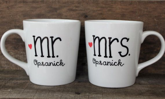 A sweet set of mugs for the bride and groom! A wonderful bridal shower or wedding gift for them to cherish for many years to come!    This