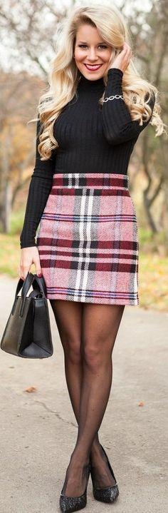 red plaid a line skirt black turtleneck sweater black tights black heels pumps winter work wear