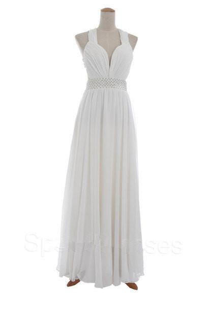 13f3e8b91fba Homecoming Dress,White Criss-Cross Back Chiffon Long Prom Dress - US ...
