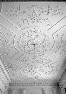 Hanover Lodge, London. New decorative plaster ceiling.