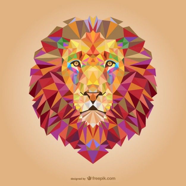 Vector triangle lion illustration Free Vector