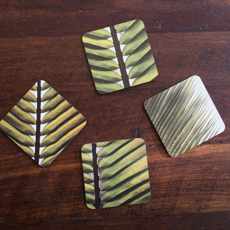 Jo Ward Photography Leaf Coasters Set of 4 coasters each a different leaf design.  10cm x 10cm. Matt finish with a cork backing