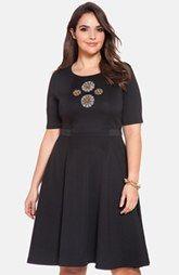 ELOQUII 'Vintage Jewel' Embellished Fit & Flare Dress (Plus Size)