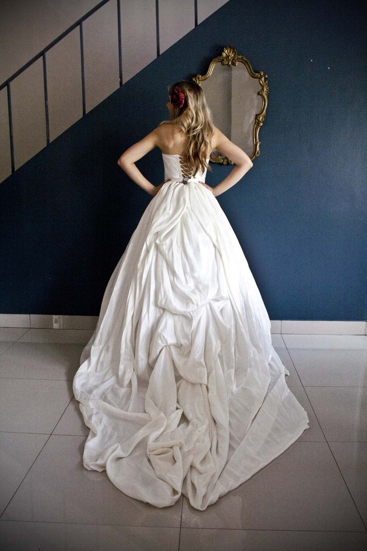 Taffeta gown with extra length train - made with love by Aplomb Couture
