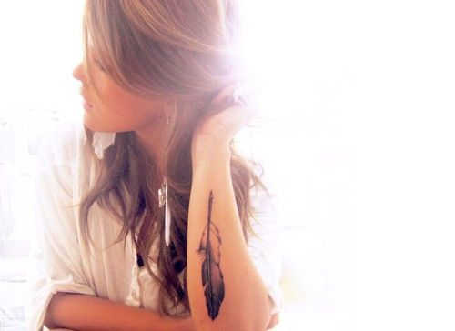 Cute Small Feather Tattoo Arm - http://prettygirlytattoos.com/cute-small-feather-tattoo-arm/