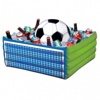 Inflatable football drink cooler.    Size: 29.5 x 14 inches (74.9 x 35.5cm)