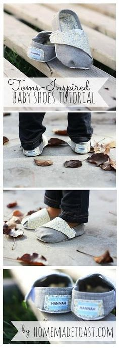 DIY TOMS-inspired Baby Shoes - step by step tutorial and pattern. I wonder if I could use a fleecy material to make slippers?