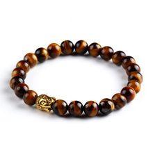 2016 natuursteen boeddha kralen armband mannen elastische touw charm strand armbanden voor vrouwen handgemaakte boeddhistische gebed sieraden(China (Mainland))
