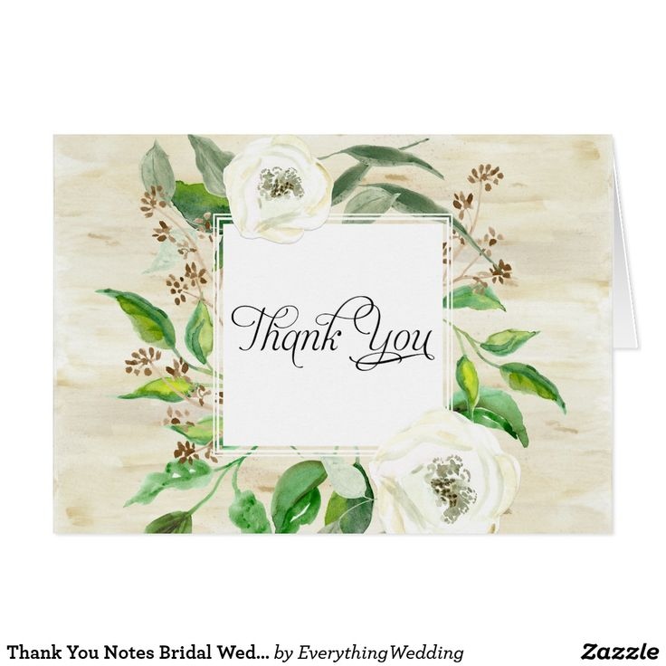 Thank You Notes Bridal Wedding Boho Leaf Wooden Beautiful, modern and stylish thank you notes to use for bridal stationery, wedding thank you notes and business correspondence. Featuring a hand painted watercolor birch bark wooden background with a woodland nature inspired square shaped wreath and frame made of eucalyptus leaves, seeds, foliage and white wild roses. Rustic yet elegant, simple and modern yet romantic. Art copyright Audrey Jeanne Roberts, all rights reserved.