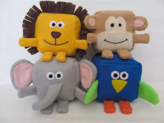 PDF ePattern - Jungle animals - Felt Cubes/Blocks Plushie Toy Sewing Pattern - DIY elephant, lion, parrot, monkey blocks - animal cube