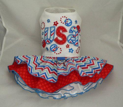 Small dog harness dress. Tutu skirt. Patriotic sparkle by poshdog, $68.00