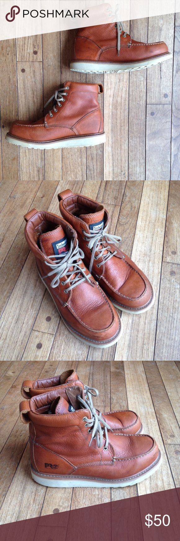 """Timberland Pro Series 6"""" Leather soft-toed boots Rust brown colored. Full grain leather.  Lace up. VGUC. Soles are in EUC!  Leather has some scuffs and small scratches, but remains supple and soft. Insoles are in great condition! Timberland Shoes Boots"""
