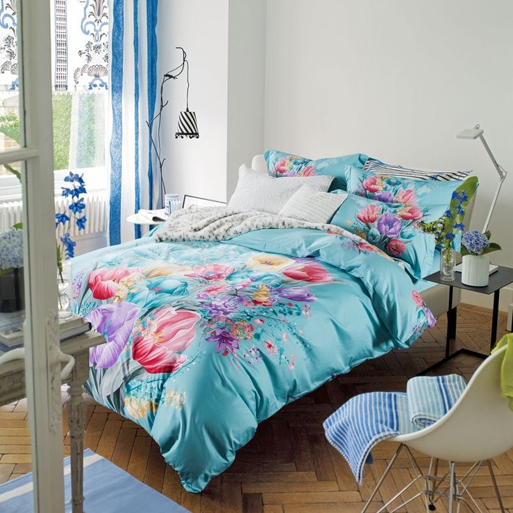 Baby Blue Red Purple and Yellow Floral Print Garden Images Asian Inspired Oriental Country 100% Cotton Full, Queen Size Bedding Sets
